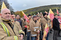 New Scottish Labour leader Richard Leonard delivered a speech to members of the Fire Brigades Union at a rally at the Scottish Parliament, after firefighters and control staff marched to demand the Government protect firefighter numbers and fire stations.<br /> <br /> &copy; Dave Johnston/ EEm