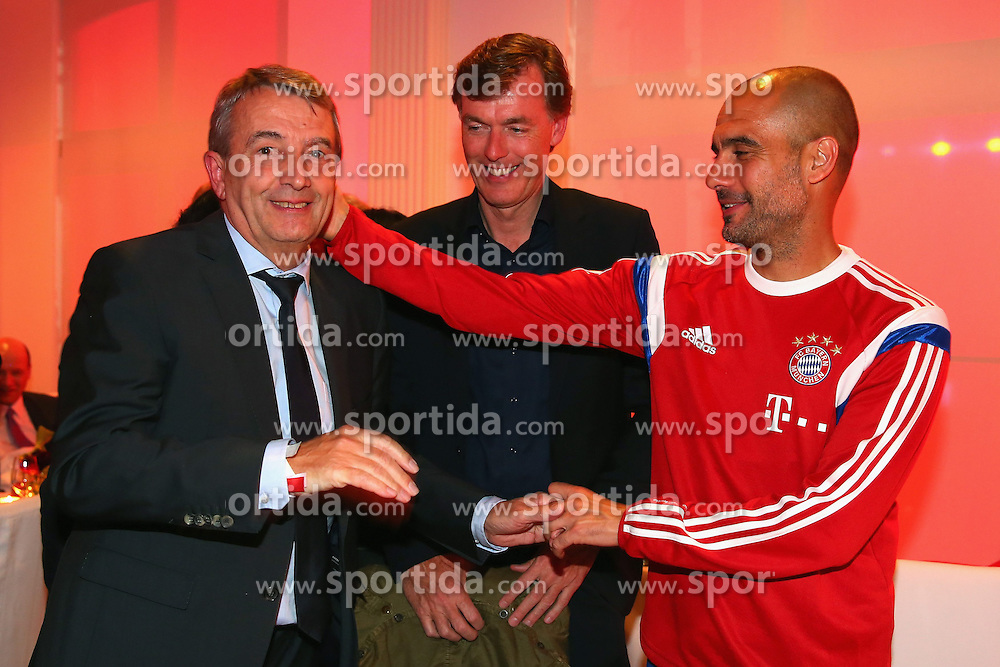 17.05.2014, T Com, Berlin, GER, DFB Pokal, Bayern Muenchen Pokalfeier, im Bild Josep Guardiola (R), head coach of Bayern Muenchen talks to Wolfgang Niersbach, President of German Football Association (DFB) with Michael Hagsphil (C), Marketing Director of Telekom Deutschland Josep Guardiola, Wolfgang Niersbach, Michael Hagsphil, // during the FC Bayern Munich &quot;DFB Pokal&quot; Championsparty at the T Com in Berlin, Germany on 2014/05/17. EXPA Pictures &copy; 2014, PhotoCredit: EXPA/ Eibner-Pressefoto/ EIBNER<br /> <br /> *****ATTENTION - OUT of GER*****
