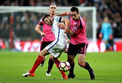Adam Lallana of England takes on Lee Wallace of Scotland - Mandatory by-line: Robbie Stephenson/JMP - 11/11/2016 - FOOTBALL - Wembley Stadium - London, United Kingdom - England v Scotland - European World Cup Qualifiers
