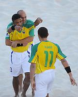 FIFA BEACH SOCCER WORLD CUP 2008 BRAZIL - SPAIN   18.07.2008 BURU (front) celebrates his goal with BENJAMIN (center) and SIDNEY (BRA).