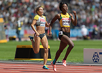 Athletics - 2017 IAAF London World Athletics Championships - Day Three, Morning Session<br /> <br /> 400m Women - Round One<br /> <br /> Shericka Jackson (Jamaica) leads down the home straight at the London Stadium <br /> <br /> <br /> COLORSPORT/DANIEL BEARHAM