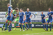 Forest Green Rovers Christian Doidge(9) heads the ball scores a goal 1-0 during the Vanarama National League match between Forest Green Rovers and Macclesfield Town at the New Lawn, Forest Green, United Kingdom on 4 March 2017. Photo by Shane Healey.