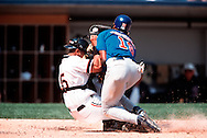 CHICAGO - JUNE 10:  Sandy Alomar Jr. of the Chicago White Sox is upended by Gary Matthews Jr. of the Chicago Cubs at home plate but held on to the ball to record the out on June 10, 2001 at Comiskey Park in Chicago, Illinois.  (Photo by Ron Vesely)..