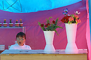 ULAN BATOR, MONGOLIA..08/21/2001.Florist near Sukhbaatar Square..(Photo by Heimo Aga)