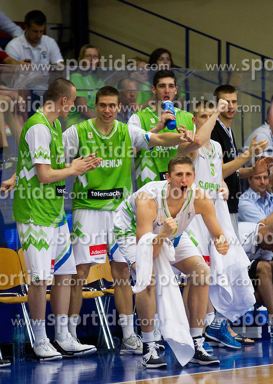 Jaka Brodnik of Slovenia, Gezim Morina of Slovenia, Luka Rupnik of Slovenia, Matej Rojc of Slovenia celebrate during basketball match between National teams of Slovenia and Spain in Qualifying Round of U20 Men European Championship Slovenia 2012, on July 18, 2012 in Domzale, Slovenia. Slovenia defeated Spain 70-63. (Photo by Vid Ponikvar / Sportida.com)