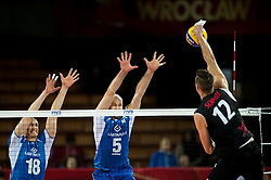 11.09.2014, Centennial Hall, Breslau, POL, FIVB WM, Kanada vs Finnland, 2. Runde, Gruppe F, im Bild Jukka Lehtonen finland #18 Antti Siltala finland #5 Gavin Schmitt canada #12 // Jukka Lehtonen finland #18 Antti Siltala finland #5 Gavin Schmitt canada #12 during the FIVB Volleyball Men's World Championships 2nd Round Pool F Match beween Canada and Finland at the Centennial Hall in Breslau, Poland on 2014/09/11. EXPA Pictures © 2014, PhotoCredit: EXPA/ Newspix/ Sebastian Borowski<br /> <br /> *****ATTENTION - for AUT, SLO, CRO, SRB, BIH, MAZ, TUR, SUI, SWE only*****