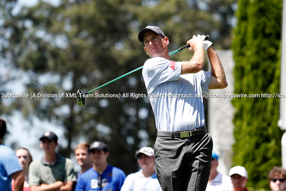 CROMWELL, CT - JUNE 24: Jim Furyk of the United States drives from the 6th tee during the third round of the Travelers Championship on June 24, 2017, at TPC River Highlands in Cromwell, Connecticut. (Photo by Fred Kfoury III/Icon Sportswire)