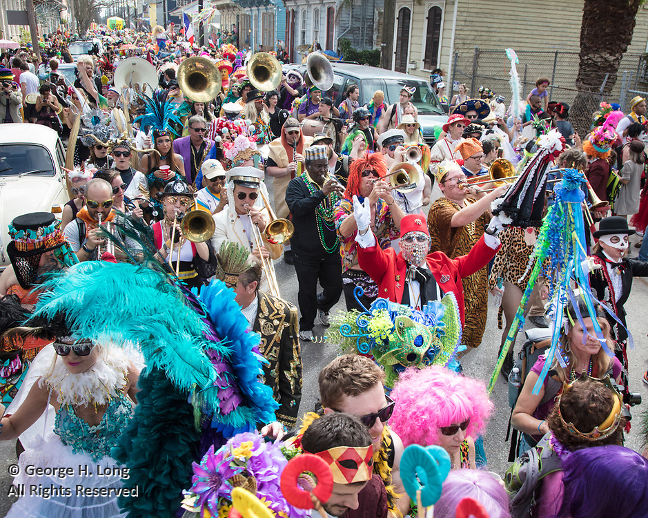 Wesley Schmidt leads the band for the Secret Society of St. Anne on Mardi Gras in New Orleans 2017