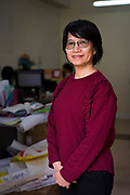 Elizabeth Tang, General Secretary of the International Domestic Workers Federation (IDWF / FITH / FITD) stands for a portrait in her office in Kwai Chung, New Territories, Hong Kong SAR on February 26th, 2019.  <br /> Photo by Suzanne Lee/PANOS for Open Society Foundations