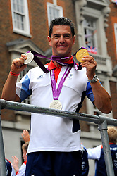 Team GB Paralympic cyclist Mark Lee Colbourne medal winner during a parade in central London celebrating Team GB athletes who competed in the London 2012 Olympic and Paralympic Games, September 10th 2012. Photo by Chris Joseph/i-Images.