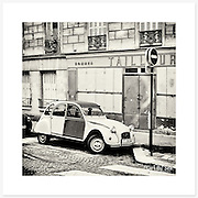 2CV, Montmartre, France - Monochrome version. Inkjet pigment print on Canson Infinity Rag Photographique 310gsm 100% cotton museum grade Fine Art and photo paper.<br />