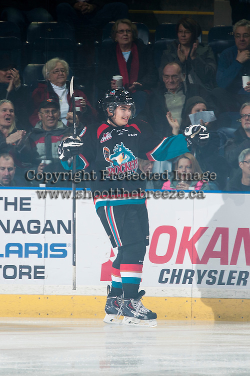 KELOWNA, CANADA - DECEMBER 5: Nick Merkley #10 of Kelowna Rockets celebrates a goal against the Prince George Cougars on December 5, 2014 at Prospera Place in Kelowna, British Columbia, Canada.  (Photo by Marissa Baecker/Shoot the Breeze)  *** Local Caption *** Nick Merkley;
