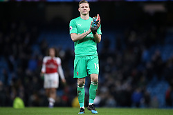 Arsenal goalkeeper Bernd Leno reacts after the final whistle during the Premier League match at the Etihad Stadium, Manchester.