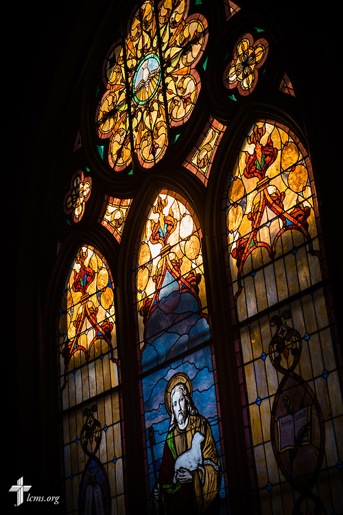 Stained glass depicting Jesus Christ on Wednesday, Dec. 9, 2015, at Trinity Lutheran Church in Soulard, a part of St. Louis. LCMS Communications/Erik M. Lunsford