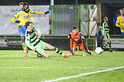 Forest Green Rovers Christian Doidge(9) shoots at goal scores a goal 4-5 during the Vanarama National League match between Forest Green Rovers and Torquay United at the New Lawn, Forest Green, United Kingdom on 1 January 2017. Photo by Shane Healey.
