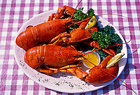 Lobsters, Lobster on the Wharf restaurant, Prince Street Wharf, Charlottetown, Prince Edward Island, Canada