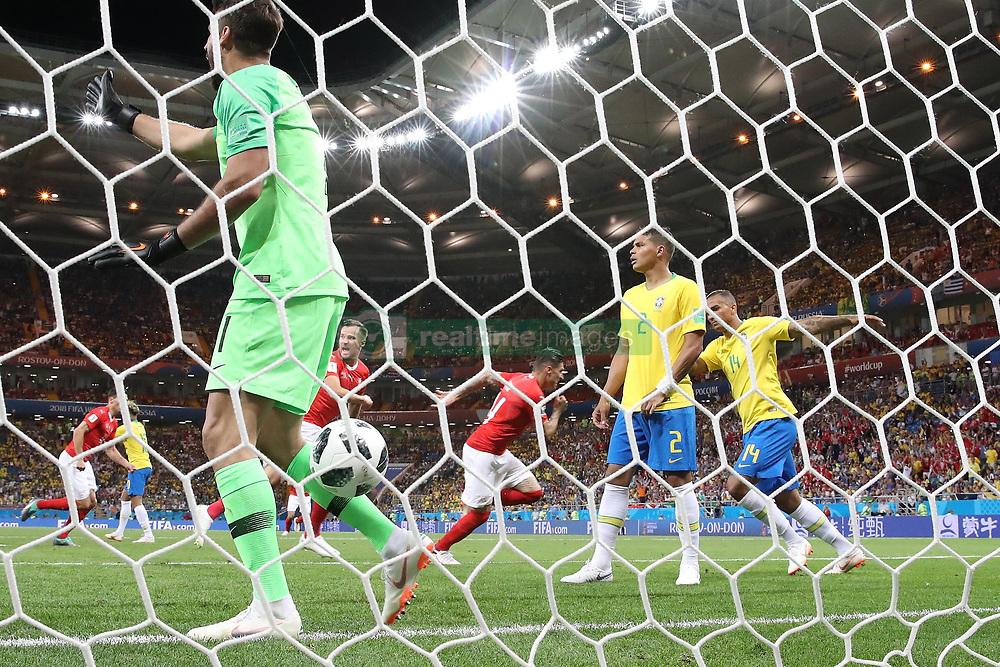 ROSTOV-ON-DON, June 17, 2018  Steven Zuber (C) of Switzerland celebrates scoring during a group E match between Brazil and Switzerland at the 2018 FIFA World Cup in Rostov-on-Don, Russia, June 17, 2018. The match ended in a 1-1 draw. (Credit Image: © Li Ming/Xinhua via ZUMA Wire)