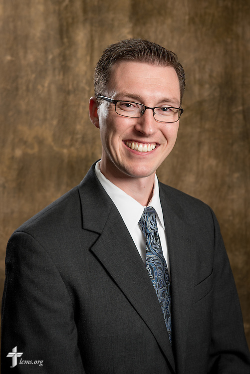 Headshot photograph of Matthew Bergholt, coordinator in Online Support and Services of the LCMS Office of National Mission, in the studio of The Lutheran Church–Missouri Synod International Center on Tuesday, Aug. 26, 2014, in Kirkwood, Mo. LCMS Communications/Erik M. Lunsford