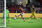 Bristol City midfielder Bobby Reid (14) shoots at goal but the shot is saved by Burton Albion goalkeeper Stephen Bywater (1) during the EFL Sky Bet Championship match between Bristol City and Burton Albion at Ashton Gate, Bristol, England on 13 October 2017. Photo by Richard Holmes.