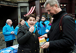 Pictured: Ruth Davidson enjoyed a sugar boost from Stewart Attwood, one of the regular press photographers on the election trail.<br /> <br /> Scottish Conservative leader Ruth Davidson was on the campaign trail in her own constituency of Edinburgh Central today.<br /> <br /> Ger Harley | EEm 3 April 2016