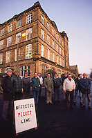 Originally on strike over pay members of one of Britain's smallest Unions the  Card Setting Machine Tenters Society are now fighting for their jobs after being sacked by their employer English Card Clothiers in Cleckheaton. West Yorkshire 5-12-91