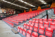 One of the stands ready for the AFC Bournemouth FC supporters (the Cherries) ahead of the Premier League match between Bournemouth and Arsenal at the Vitality Stadium, Bournemouth, England on 25 November 2018.