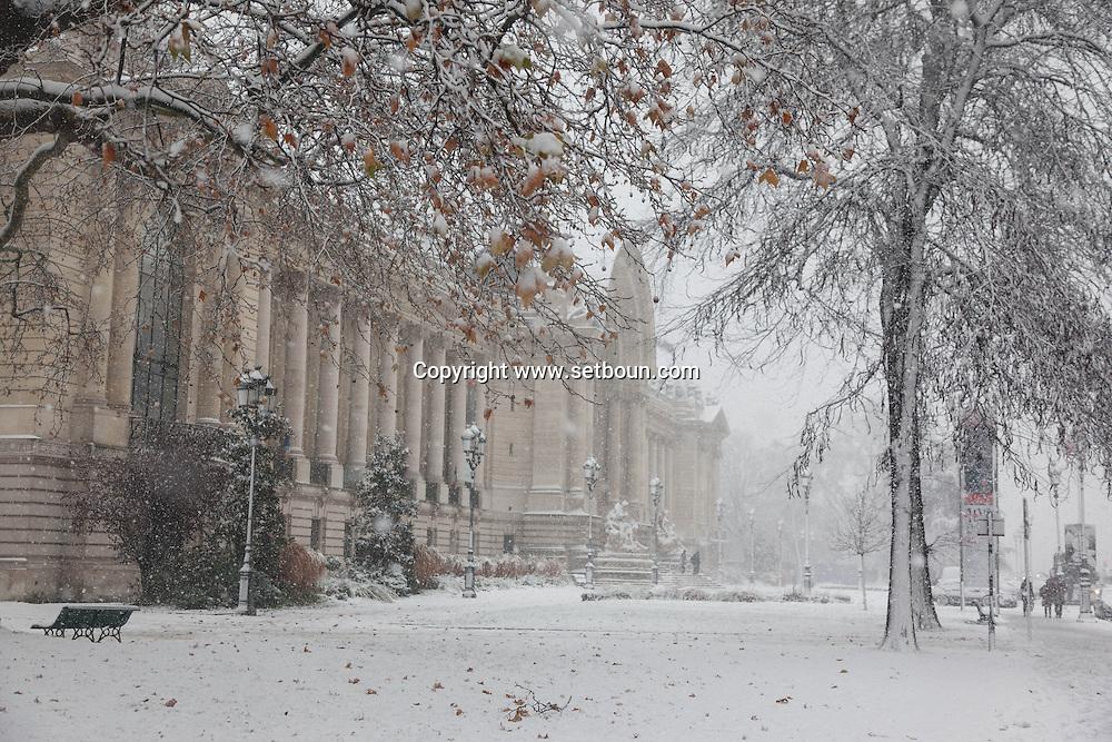 France. Paris. 8th distrct. petit palais , Paris under the snow / Paris sous la neige en hiver