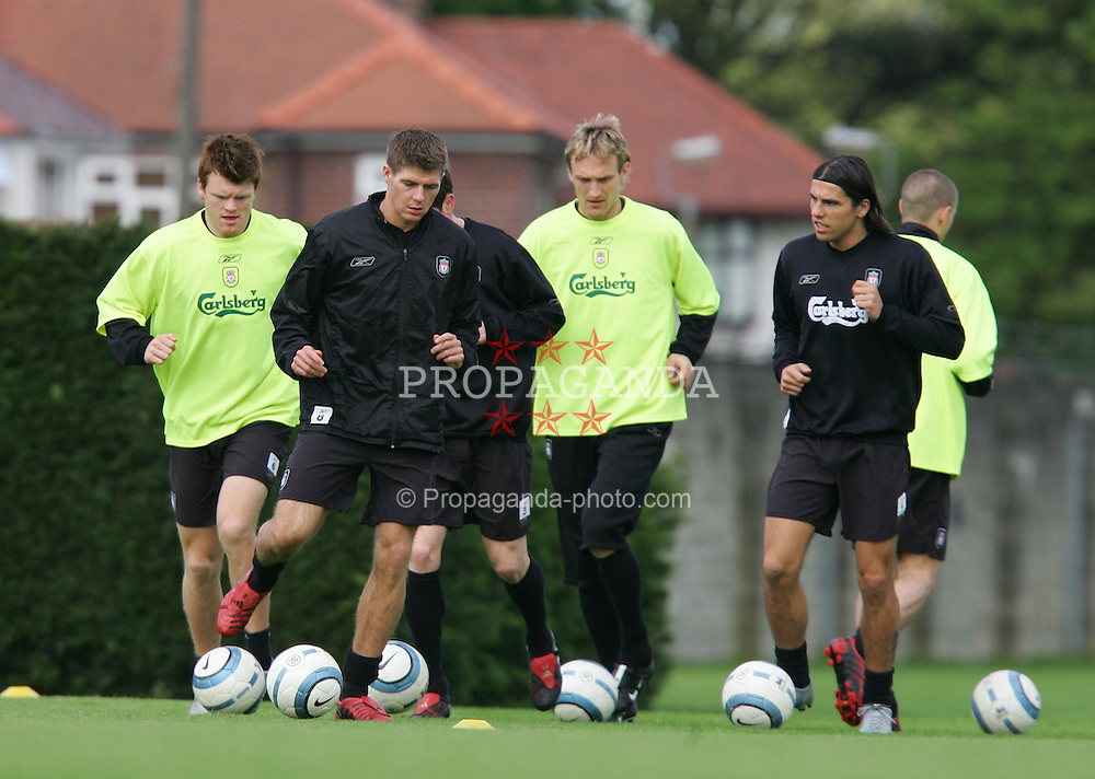 LIVERPOOL, ENGLAND. MONDAY, MAY 2nd, 2005: Liverpool's Steven Gerrard training at Melwood Training Ground ahead of his side's UEFA Champions League Semi Final 2nd Leg against Chelsea. (Pic by David Rawcliffe/Propaganda)