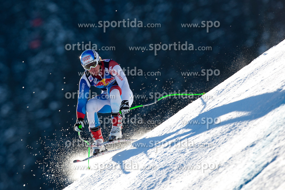 18.01.2012, Hahnenkamm, Kitzbuehel, AUT, FIS Weltcup Ski Alpin, 72. Hahnenkammrennen, Herren, Abfahrt 2. Training, im Bild Carlo Janka (SUI) // Carlo Janka of Switzerland during Downhill 2nd practice of 72th Hahnenkammrace of FIS Ski Alpine World Cup at 'Streif' course in Kitzbuhel, Austria on 2012/01/18. EXPA Pictures © 2012, PhotoCredit: EXPA/ Johann Groder