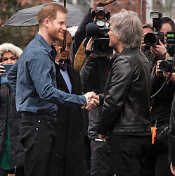 © Licensed to London News Pictures. 28/02/2020. London, UK. Prince Harry, Duke of Sussex is greeted by Jon Bon Jovi as he arrives at Abbey Road studios in London where he is due to members of the Invictus Games Choir, who are recording a special single in aid of the Invictus Games. Photo credit: Ben Cawthra/LNP