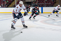 KELOWNA, CANADA - SEPTEMBER 5: Tylor Ludwar #3 of the Kamloops Blazers passes the puck against the Kelowna Rockets on September 5, 2017 at Prospera Place in Kelowna, British Columbia, Canada.  (Photo by Marissa Baecker/Shoot the Breeze)  *** Local Caption ***
