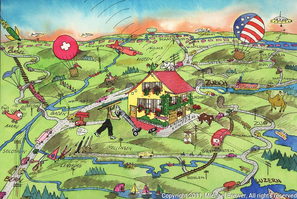 Illustrations Swiss Map Michael Brewer Photography Illustration
