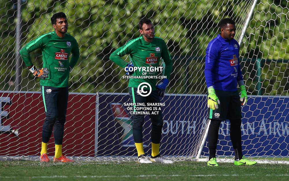 Shu-Aib Walters G/K with Darren Keet and Itumeleng Khune G/K of (Bafana Bafana) South Africa during the Bafana Bafana Training at People's Park, Moses Mabhida Stadium in Durban,21st March 2017 (Steve Haag)