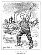 "The Battle Front. ""Down, lads, and at 'em!"" (Ernest Bevin calls for more coal production by recruiting his Bevin Boys)"