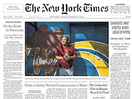 "THE NEW YORK TIMES. ""On the Brink In Venezuela - A Country Rich in Oil Lacks Bare Essentials"" by Nicholas Casey.  A1. February 9, 2016"