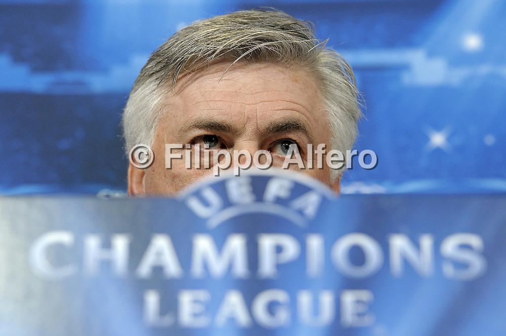 &copy; Filippo Alfero<br /> Conferenza stampa Real precedente Juventus-Real Madrid di Champions League<br /> Torino, 04/05/2015<br /> sport calcio<br /> Nella foto: Carlo Ancelotti