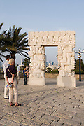Israel, renovated old city of Jaffa now an artist's colony. Statue of Faith by Daniel Kafri, Abrasha Summit Park