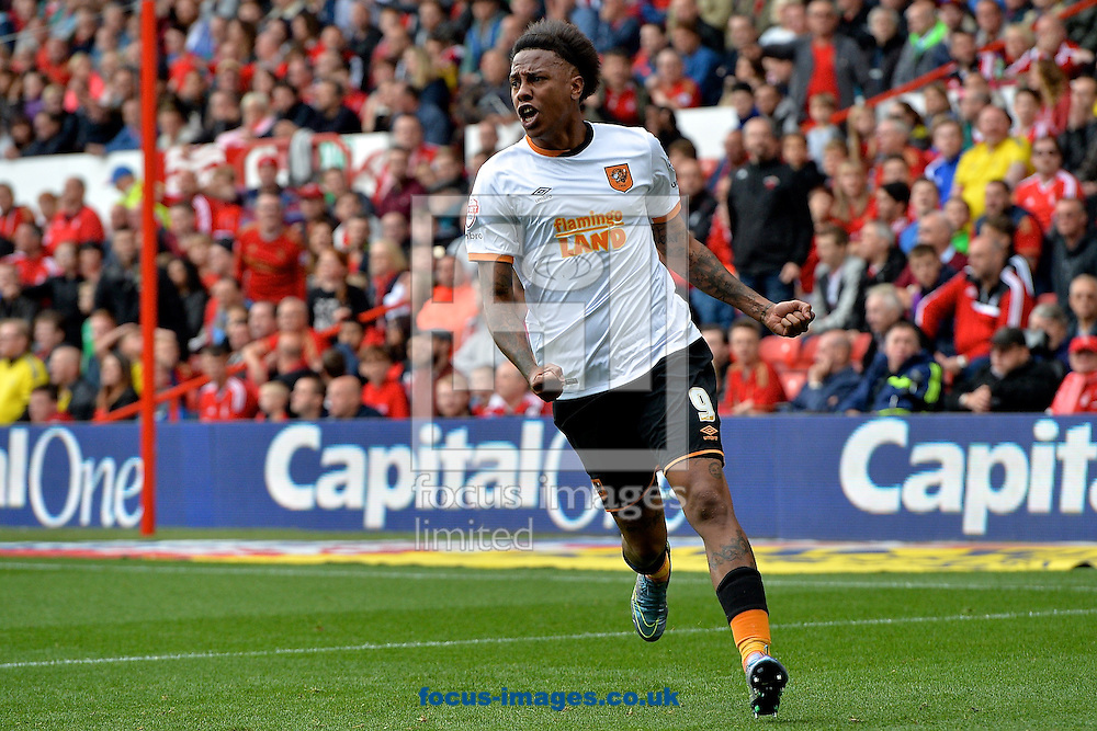 Abel Hern&aacute;ndez of Hull City celebrates scoring their first goal to make it Nottingham Forest 0 Hull City 1 during the Sky Bet Championship match at the City Ground, Nottingham<br /> Picture by Ian Wadkins/Focus Images Ltd +44 7877 568959<br /> 03/10/2015
