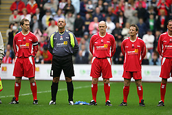 LIVERPOOL, ENGLAND - SUNDAY MARCH 27th 2005: Liverpool Legends players line-up before the Tsunami Soccer Aid match at Anfield. L-R: Jason McAteer, Bruce Grobbelaar, Phil Neal, Paul Walsh. (Pic by David Rawcliffe/Propaganda)