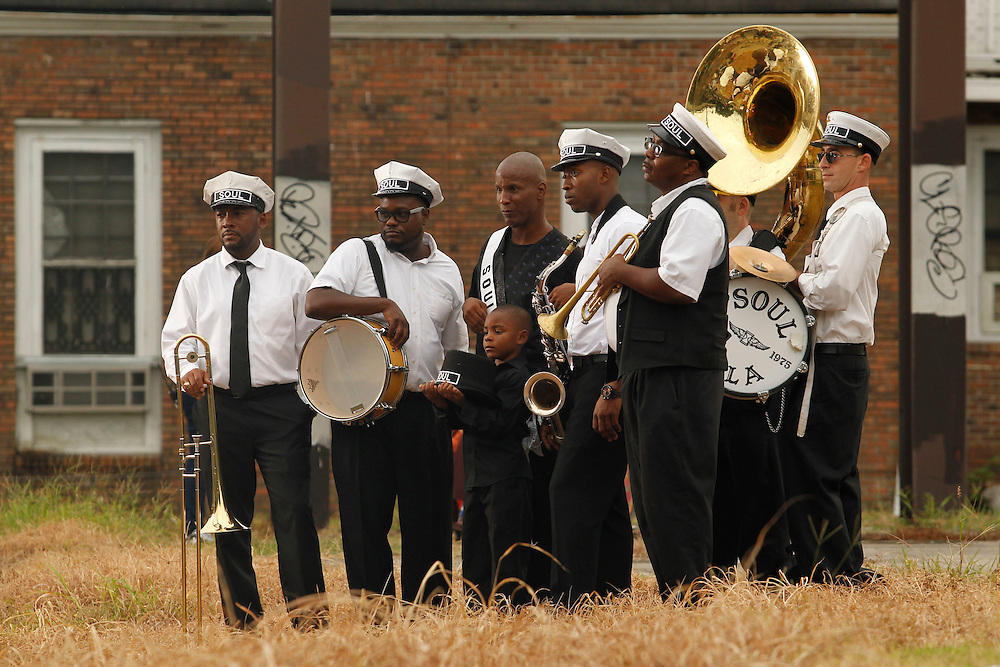 Ceelo Green films a Second Line style Jazz Funeral for a music video through the historic Treme neighborhood in New Orleans, Louisiana on Wed., September 2, 2015.