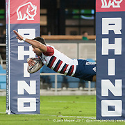 Chris Mattina dives in to score a try as Chile are defeated by the United States at the Silicon Valley Sevens in San Jose, California. November 4, 2017. <br /> <br /> By Jack Megaw.<br /> <br /> CHLUSA<br /> <br /> <br /> <br /> www.jackmegaw.com<br /> <br /> jack@jackmegaw.com<br /> @jackmegawphoto<br /> [US] +1 610.764.3094<br /> [UK] +44 07481 764811