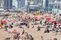 © Licensed to London News Pictures. 05/07/2017. Brighton, UK. Members of the public take advantage of the sunny weather to relax and sunbath on the beach in Brighton and Hove Photo credit: Hugo Michiels/LNP