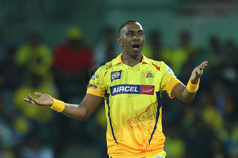 Dwayne Bravo of the Chennai Superkings reacts after a delivery  during match 37 of the Pepsi IPL 2015 (Indian Premier League) between The Chennai Superkings and The Royal Challengers Bangalore held at the M. A. Chidambaram Stadium, Chennai Stadium in Chennai, India on the 4th May April 2015.<br /> <br /> Photo by:  Ron Gaunt / SPORTZPICS / IPL