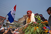 Voters greeting Prakashman Singh, the leader of the Nepali congress party as he celebrates the results of the polls in the streets of Kathmandu. April 10th 2008 the historic Consistuent assembly elections took place in Nepal, putting an end to a centuries of monarchy. The assembly will form a new constitution and abolish the monarchy and King Gyanendras rule. The big question remains if the new maoist led government will be a positive or a negative factor in a country that recently emerged from a decade of civilwar. Photo: Christopher Olssøn.
