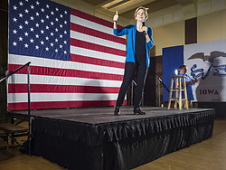 May 3, 2019 - Ames, Iowa, U.S - Sen. ELIZABETH WARREN (D-MA) during her campaign appearance at Iowa State University in Ames. About 400 people attended the event. Sen. Warren is campaigning in Iowa Friday and Saturday to promote her bid to be the Democratic candidate for the US Presidency. Iowa traditionally hosts the the first selection event of the presidential election cycle. The Iowa Caucuses will be on Feb. 3, 2020. (Credit Image: © Jack Kurtz/ZUMA Wire)
