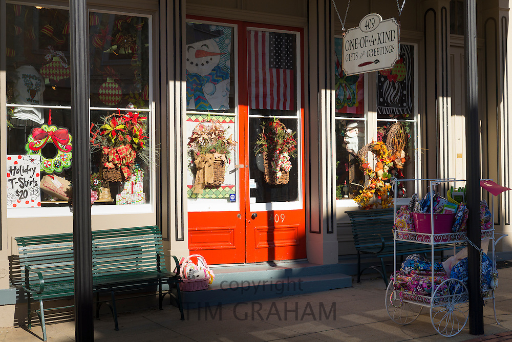 Bright color fun for holidays and occasions in gift shop One-of-A-Kind along Main Street in Downtown Natchez, Mississippi USA