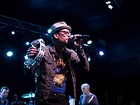Robin Wilson lead singer for the Gin Blossoms on stage at the Whiskey Barrel in Laconia Tuesday evening.  (Karen Bobotas/for the Laconia Daily Sun)