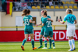 German players celebrate during football match between Slovenia and Germany in Womans Qualifications for World Championship 2019, on April 10, 2018 in Sports park Domzale, Domzale, Slovenia. Photo by Ziga Zupan / Sportida