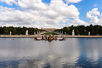 The Palace of Versailles, or simply Versailles, is a royal château close to Paris, France. The Gardens of Versailles with the Apollo Fountain in Bassin d'Apollon.