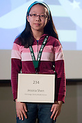 Jessica Shen of Olentangy Liberty Middle School introduces herself during the Columbus Metro Regional Spelling Bee Regional Saturday, March 16, 2013. The Regional Spelling Bee was sponsored by Ohio University's Scripps College of Communication and held in Margaret M. Walter Hall on OU's main campus.